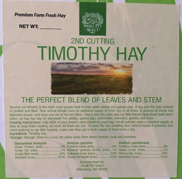 2nd cutting Timothy Hay nutritional values