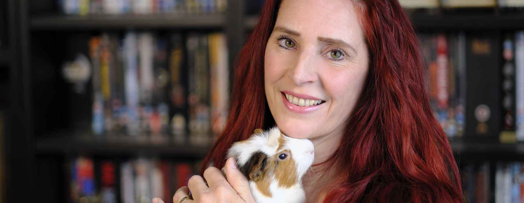 Monique- owner of Guinea Piggles with Mr Jaffas the Guinea Pig